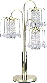 Milton Greens Stars A716G Sterling Traditional Crystal Table Lamp with 3-Way Switch, 34-Inch, Polished Brass