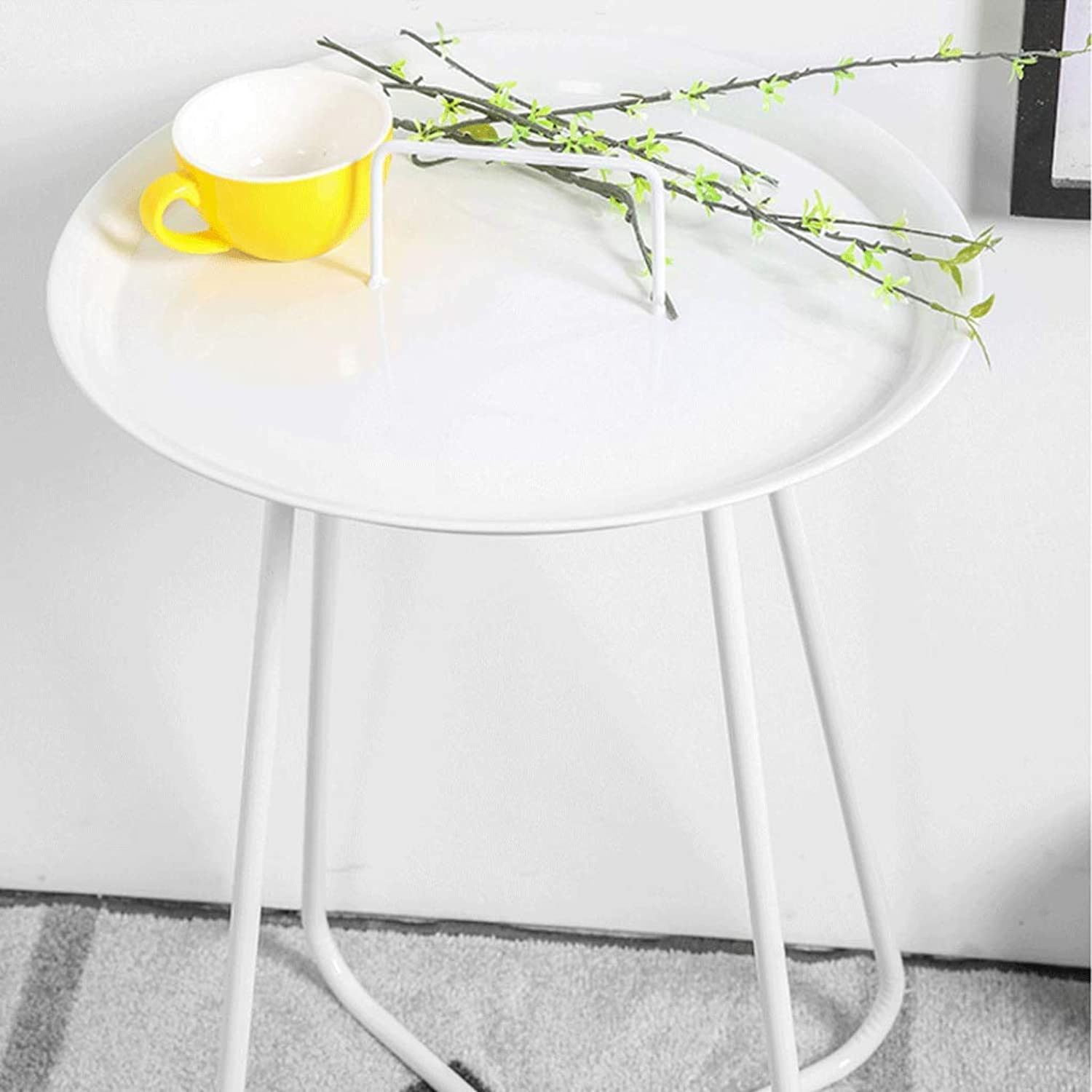 Small Round Table Simple European Wrought Iron Coffee Table Living Room Sofa Side A Few golden Small Round Table with Handles Can Be Lifted Multi-Functional Coffee Table (color   White)