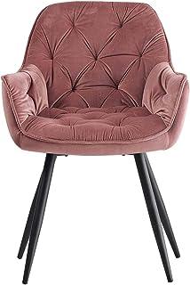 Greneric 1 chaise de salle à manger en tissu (velours) - Couleur : rose - Style rétro - Avec accoudoirs - Avec dossier et ...