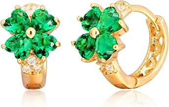 Windshow Girls 18K Gold Plated 4 Leaf Clover Heart Cut Small Hoop Huggie Earrings