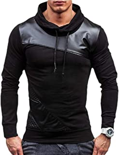 Mens Vintage PU Leather Patchwork Long Sleeves Pullover Drawstring Tops Sweatshirt