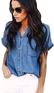d1ebd5d7e0 Summer Shirt Women Blouse Casual Jacket Soft Denim Tops Blue Jean Button  Short Sleeve