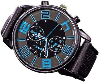 Docooler Fashion Men Luxury Stainless Steel Quartz Sport Silicone Band Dial Wrist Watch Light Blue
