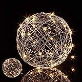 2x LED Dekokugel, batteriebetrieben, zum Hinhängen & Hinstellen, extra langes Kabel, Leuchtkugel, Ø 20 cm, silber