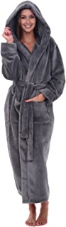 Women's Plush Fleece Robe with Hood, Warm Solid Bathrobe