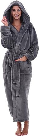 Alexander Del Rossa Womens Fleece Solid Robe, Long Hooded Bathrobe