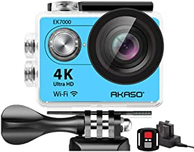 AKASO EK7000 4K Sport Action Camera Ultra HD Camcorder 12MP WiFi Waterproof Camera 170 Degree Wide View Angle 2 Inch LCD Screen W/2.4G Remote Control/19 Accessories Kits - Blue