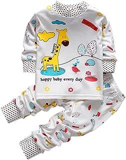 COODIO 2PCS Casual Baby Girl Boy Clothes Set Long-Sleeve T-Shirt Long Pants Cute Pajamas