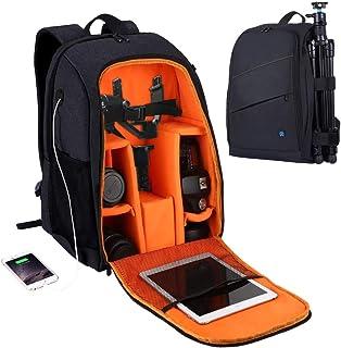 KH PULUZ Camera Backpack Waterproof Shockproof Camera Bag with rain Cover for DSLR SLR Cameras Lenses 15.6in Laptop Tablet...
