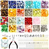 1760Pcs Crystal Stone Beads Natural Gemstone Kit - Crystal Ring Making Kit with Real Small Gemstone Beads, Jewelry Wire and Earring Hooks for Ring, Earring and Necklace Making