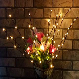 Velidy Branches Battery Powered Decorative Lights Tall Vase Filler Willow Twig Lighted Branch for Home Decoration Warm Whi...