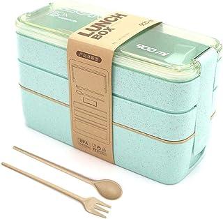 Lunch Bento Box, Fambrera Infantil Paja de Trigo loncheras BPA Gratis, Lonchera a Prueba de Fugas para el Trabajo, Escuela, Viajes (Green)