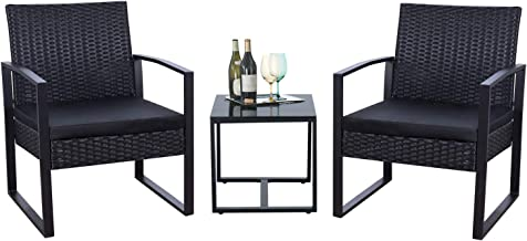 Flamaker 3 Pieces Patio Set Outdoor Wicker Patio Furniture Sets Modern Bistro Set Rattan Chair Conversation Sets with Coff...