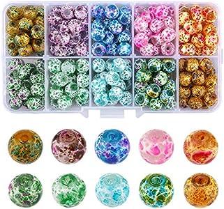 LUTER 200 Cuentas de Cristal de Murano Craquelado, Cuentas Redondas de Crujido Espaciador Suelto para Manualidades de Fabricación de Joyas (10 Colores, 8 mm, Agujero de 1,2 mm)