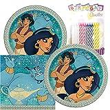 Paquete de fiesta temática de Aladdin, incluye platos de papel y servilletas de almuerzo, más 24 velas de cumpleaños – Sirve 16