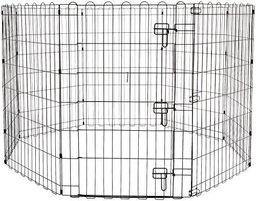 Amazonベーシック ペット 犬用 エクササイズフェンス プレイサークル 折りたたみ可能 金属製 ゲート付き 15...