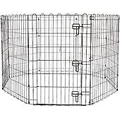 Amazonベーシック ペット 犬用 エクササイズフェンス プレイサークル 折りたたみ可能 金属製 ゲート付き 152 x 152 x 91cm
