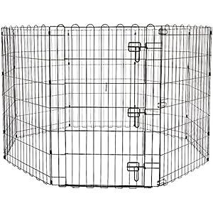 Amazon Basics Foldable Metal Pet Dog Exercise Fence Pen With Gate – 60 x 60 x 36 Inches