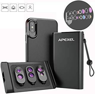 APEXEL 3 in 1 Dual Camera Phone Lens Kit Phone Case + Add-on External Lens Set Super Portable Compatible with iPhone X XS Specially Dual Macro Lens+ Telephoto & Fisheye + Telephoto & Wide Angle
