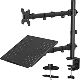 """Laptop Monitor Stand with Keyboard Tray, Adjustable Desk Mount Laptop Holder with Clamp and Grommet Mounting Base for 13 to 27 Inch LCD Computer Screens Up to 22lbs, Notebook up to 15.6"""", Black"""