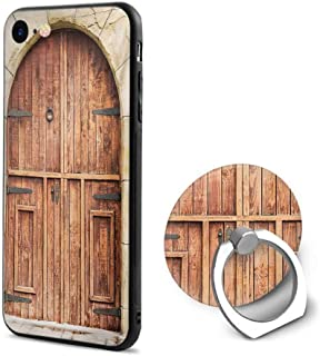 Rustic iPhone 6/iPhone 6s Cases,Traditional Oak Crafted Doorway on Stone Facade Artisan Hand Made Features Culture Cream Brown,Mobile Phone Shell Ring Bracket