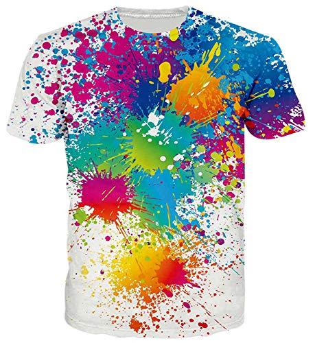 ALISISTER Unisexe 3D Imprimé T-Shirt de Nouveauté Peinture Blanche Graphique Tee Shirts pour Hommes Femmes Dété Casual À Manches Courtes Col Rond Tshirts Tops S,Rouge