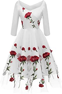 Women Valentine's Day Dresses Vintage Embroidery Rose Flower Wedding Cocktail Evening Party Tulle Ball Gown Swing Dress