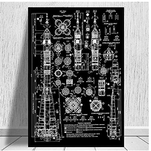 DLFALG Soyuz-U2 Russian Rocket Patent Gallery Wall Art Canvas Print Aviation Blueprint Poster Pintura Espacio exterior Imagen Decoración para el hogar-50x70cm Sin marco