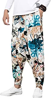 Pantalones con Estampado de harén Ocasionales Pantalones con cordón de Lino y algodón Sueltos Pantalones Anchos de Estilo ...
