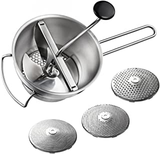 Gefu 89210 Flotte Lotte Food Mill, Stainless Steel, Including 3 Hole Discs