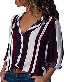 DIDWZW Womens Shirts Casual V Neck Striped Cuffed Sleeve Button Down Collar Blouses Tops, S-XXXXXL