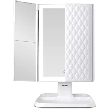 AirExpect Makeup Mirror Vanity Mirror with Lights - 3 Color Lighting Modes 72 LED Trifold Mirror, Touch Control Design, 1x/2x/3x Magnification, Portable High Definition Cosmetic Lighted Up Mirror