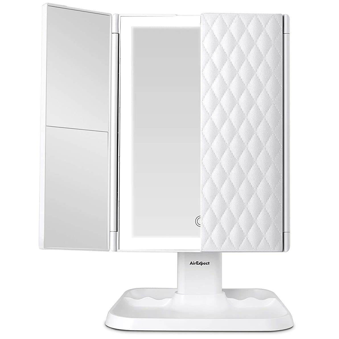 Makeup Mirror Vanity Mirror with Lights - 3 Color Lighting Modes 72 LED Trifold Mirror, Touch Control Design, 1x/2x/3x Magnification, Portable High Definition Cosmetic Lighted Up Mirror