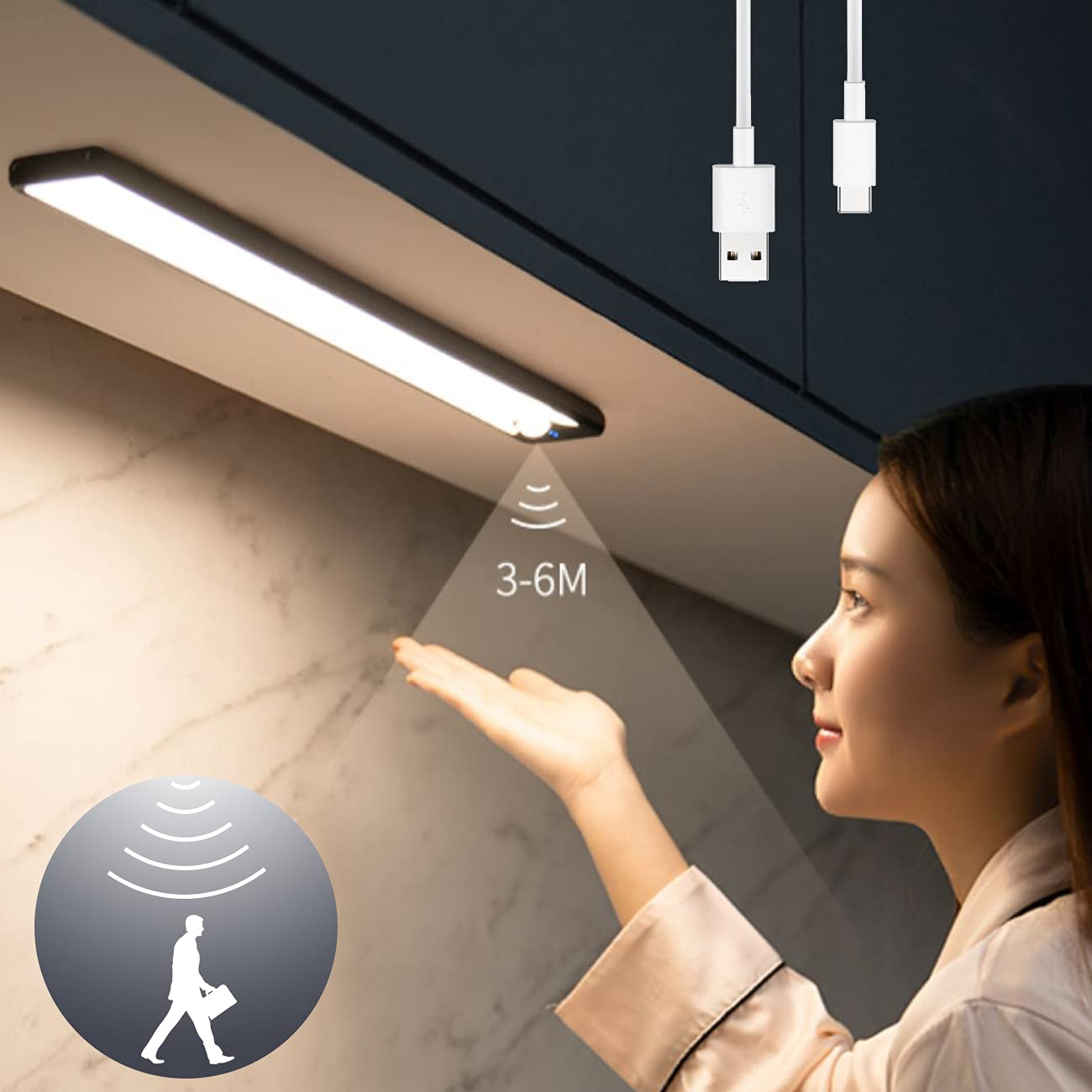 LEDセンサーライト USB充電式 2200mAh 大容量電池 超薄型設計 昼光色 4500K 40cm 無段階調光 階段ライト 足元灯 省エネ 自動点灯 120°感知範囲 3-5メートル距離 配線不要 防災 廊下 玄関 キッチン 室内照明 高感度 高輝度 超寿命; セール価格: ¥2,499