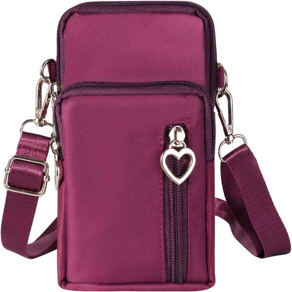 Outdoor Women Oxford Cellphone Crossbody Bag Wrist Pouch Carrying Case for LG Stylo 5 / Stylo 4 Plus/LG V50 ThinQ / V40 ThinQ / V35 ThinQ / V30 / LG G7 G6 / OnePlus 7 Pro / 7/6 / 6T (Purple)