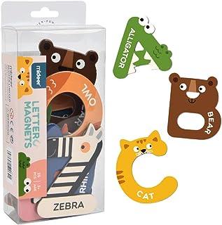 JCREN Jumbo Magnetic Letters Animals Alphabet Toys,Fridge Magnets Stick Colorful Paper ABC Alphabet Uppercase Toy Set Preschool Learning Spelling Refrigerator for 3 4 5 Year Old Toddler Kids Boy Girl