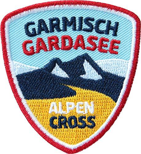 2 x Alpencross Garmisch - Gardasee / MTB Abzeichen 55 x 60 mm gestickt / Transalp Alpenüberquerung Mountainbike / Aufnäher Aufbügler Sticker Patch / Riva Partenkirchen Radtour Radführer Radkarte