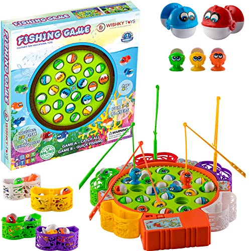 WISHKY Fishing Game Toy Set with Rotating Board  Fishing Toy Includes 24 Fish and 5 Fishing Poles   Safe and Durable Gift for Toddlers and Kids Ages 4 and Up