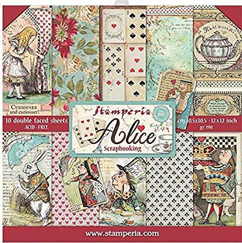 Stamperia Blocco 10 Fogli 30.5x30.5 (12'x12') -Double Face Alice, Multicolore, 30.5cmX30.5cm, 3 unità