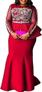 VERWIN Plus Size Falbala Nine Points Sleeve Floor-Length Round Neck Mermaid Women's Maxi Dress