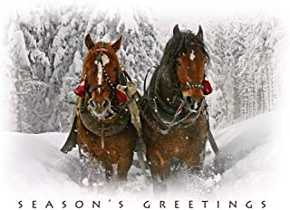 Holiday Greeting Cards - H7054. Greeting Cards Featuring a Forest Covered in Fresh Fallen Snow with Majestic Horses. Box Set Has 25 Greeting Cards and 26 White with Red Foil Lined Envelopes.