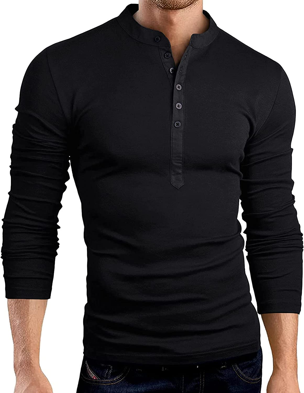 Mens Casual Long Sleeve Soild Color Raglan T-Shirt Henley V-Neck Buttons Sports Tee Shirts Blouse Tops