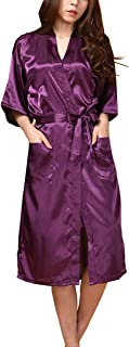 Lovacely Women's Satin Kimono Robe for Bride and Bridesmaid Wedding Party Pure Color Long Robes with Pockets Dressing Gown