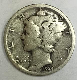 1924 S Mercury Dime 90% Silver 10c Fine
