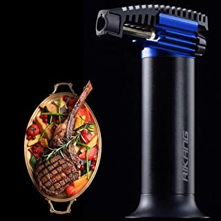 Butane Torch Lighter Large Gas Tank, Long Burning Cooking Torch Refillable Blow Torch Lighter, Culinary Torch Adjustable F...