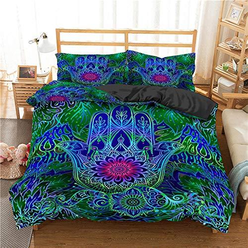 QDoodePoyer Sängkläder Dubbelsäng Sängset 200x200cm med två örngott tryckta dubbla täcken set Mjukt allergivänligt täcke av mikrofiber Röd växt ros konst Dubbel