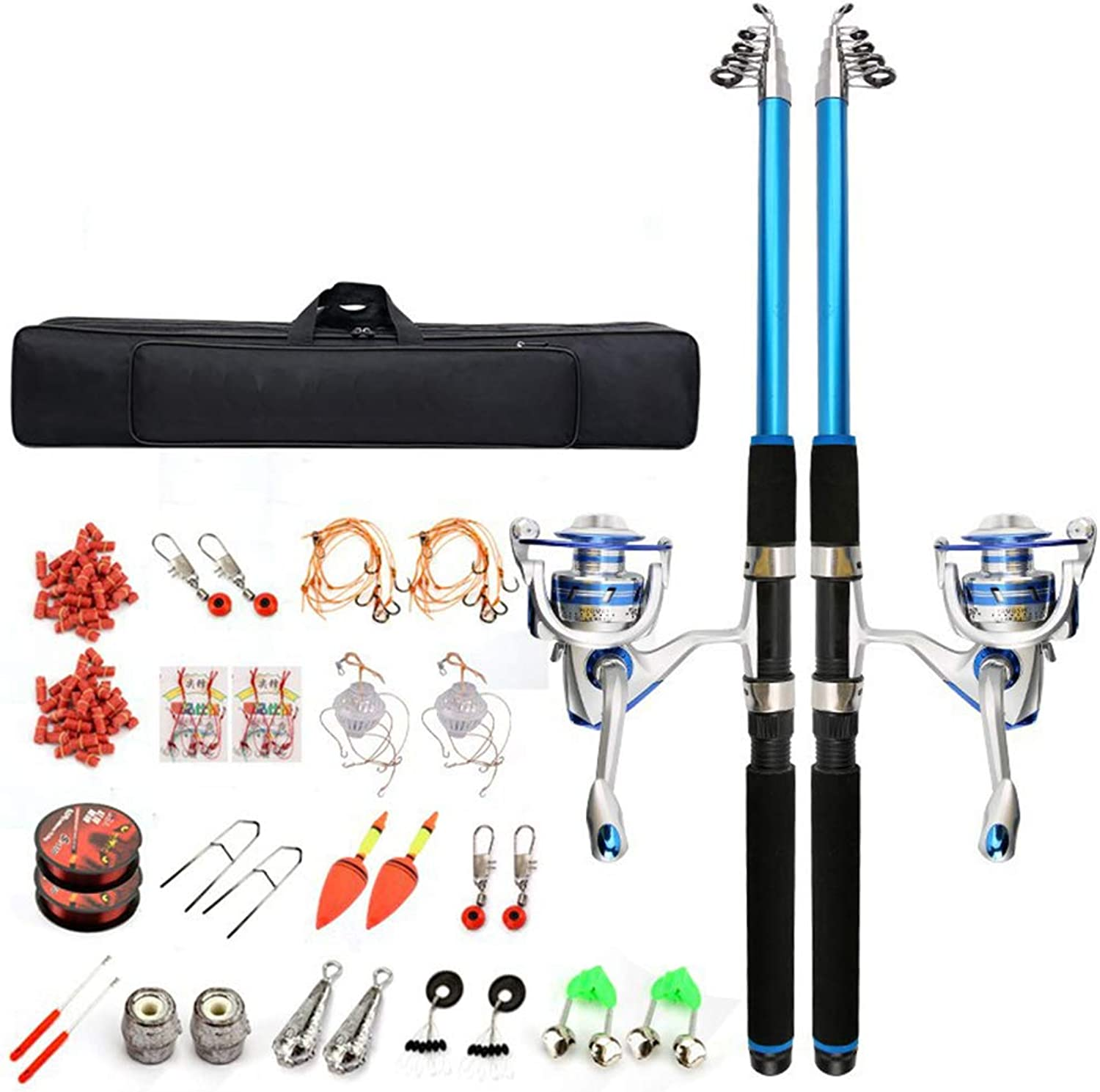Fishing Tackle Kit with Spinning Rod Reel Combos Line Lures Hooks Travel Bag, for Sea Saltwater Freshwater Boat Fishing, Starter Complete Full Set