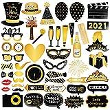 GOLDGE Neujahr 2021 Fotorequisiten Fotoaccessoires, 46pcs Party Photo Booth Props für Weihnachten Silvester Party Dekoration Gunsten