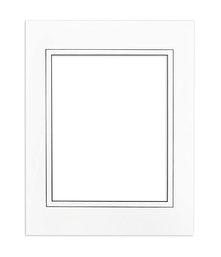Golden State Art, Acid Free, Pack of 25 11x14 White V-Groove Mats - Bevel Cut, Black Core - Matte for 8x10 Photo + Backing + Bags