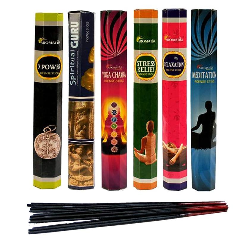 ウィンク自分を引き上げる弱点aromatika Best Seller Hexaコンボパック' C ' (6ボックスX 20?Sticks = 120?Sticks) Incense Sticks Spiritual Guruヨガ、チャクラ、7電源、ストレスリリーフ、瞑想、リラックス